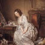 Greuze, 1763.  The Broken Mirror.  Brunswick? Note the long sleeve extension is missing. Wikimedia Commons