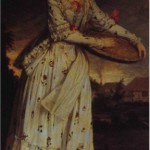 "Reynolds, 1764.  Sophia Pelham.  Ribeiro's Art of Dress quotes the Public Advertiser: ""Mrs Pelham, whole length, in a flowered muslin Brunswick dress, feeding her poultry."""