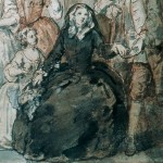 Hogarth, before 1764 (1730s-50s?). Detail from a Study for a Family Portrait.  Possible brunswick or jesuit? It's hard to determine the skirt length.