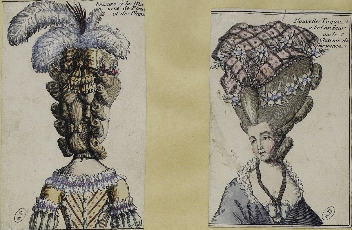 women s hairstyles cosmetics of the 18th century two high hairstyles the