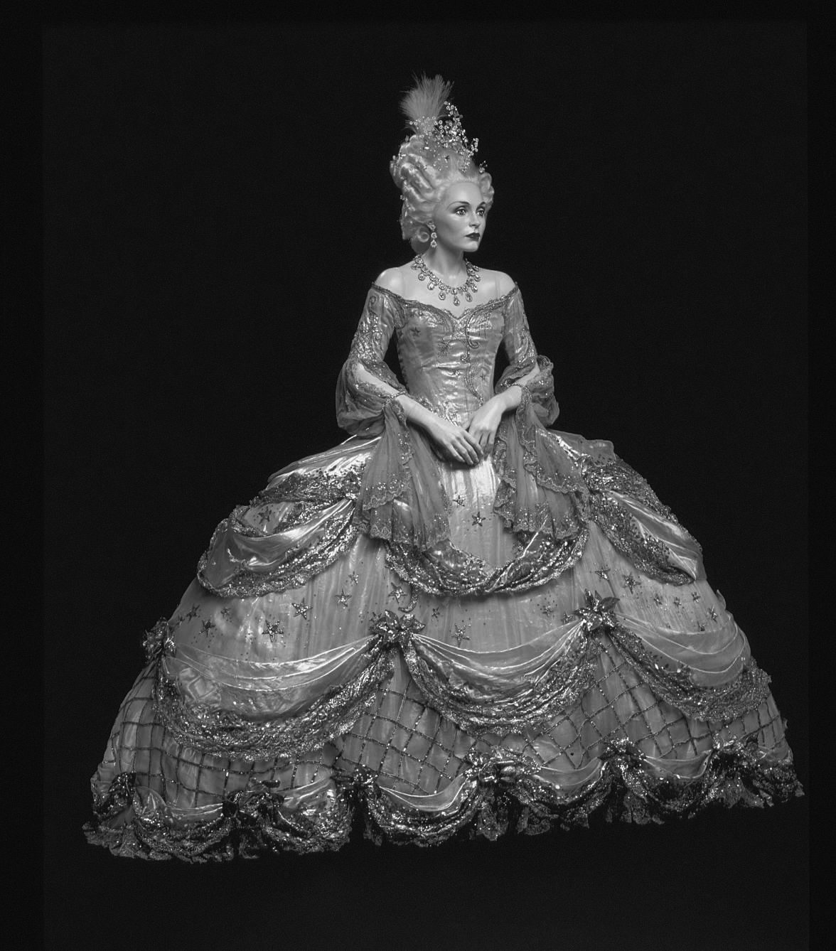 The original costume  designed Marie Antoinette Black And White Painting
