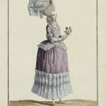 """1778 fashion plate from Gallerie des Modes: """"Demoiselle habillée en Caracot, coeffée d'un Bonnet à la Pouponne et en filet, orné de lisérés tigrés."""" Museum of Fine Arts, Boston."""