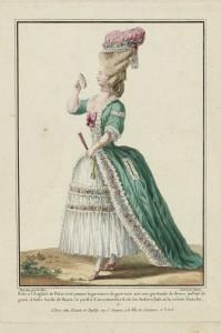 """1778 fashion plate from Gallerie des Modes: """"Robe à l'Anglaise de Pekin verd pomme la garniture de gaze unie avec une guirlande de fleurs, un Pouf de gaze d'Italie bordé de fleurs, le parfait Contentement Rose, les Souliers Rose, et la rosette blanche."""" Museum of Fine Arts, Boston."""