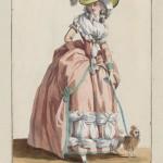 """1784 fashion plate from Gallerie des Modes: """"L'aimable Constance tenant en lesse un Chien-Lion et rêvant à celui que son coeur aime: sa robe est à la Turque et son chapeau à la Mongolfier, pose sure une baigneuse, et ceint d'un ruban attaché d'une boucle à l'Angloise avec un panache."""" Museum of Fine Arts, Boston."""