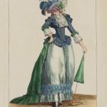 """1787 fashion plate from Gallerie des Modes: """"La Belle Omphale se promenant à l'Arsenal; elle est en petite veste à revers avec deux rangs de boutons par dessus une juppe garnie dans le plus nouveau gout: elle est coeffée d'un chapeau en pouf à la Luxembourg."""" Museum of Fine Arts, Boston."""