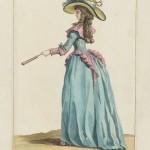"""1787 fashion plate from Gallerie des Modes: """"Beauté du Panthéon, vêtue d'une Robe à l'Asiatique en Satin bleu. Jupe rose et Collet rose. Elle est coêffée d'un Chapeau orné de Perles et de Rubans variés."""" Museum of Fine Arts, Boston."""