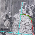 La Dame du Palais de la Reine, from Monument du Costume, 1789.  Annotated image via demodecouture.com