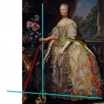 Portrait of Marie Leszczynska, c. 1748, by Van Loo.  Annotated image via demodecouture.com