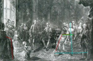 Presentation of the portrait of Maria Antonia of Austria (Marie Antoinette) to Louis Auguste, Dauphin of France in front of Louis XV and the court at Versailles, 1770.  Annotated image via demodecouture.com