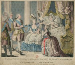 Naissance de Louis-Xavier-François, Dauphin de France, Né le 22 octobre 1781.  Annotated image via demodecouture.com