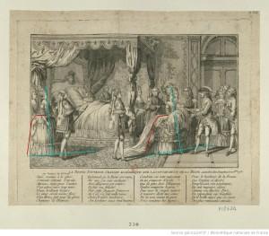 Marie-Antoinette...; ... la première dame d'honneur, en grand costume, présente le premier Dauphin nouveau-né à Louis XVI, 1781.  Annotated image via demodecouture.com