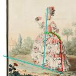 Mademoiselle d'Azincourt, fille de l'intendant des menus, 1759, by Carmontelle.  Annotated image via demodecouture.com