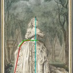 Portrait de Mademoiselle Sophie d'Arnoult (1744-1803), dans l'opéra de Pyrame et Thisbé, 1760, by Carmontelle.  Annotated image via demodecouture.com