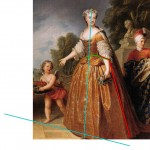 Queen Marie Leszczyska of France, probably 1720s-30s, by Stiémart or Gobert.  Annotated image via demodecouture.com