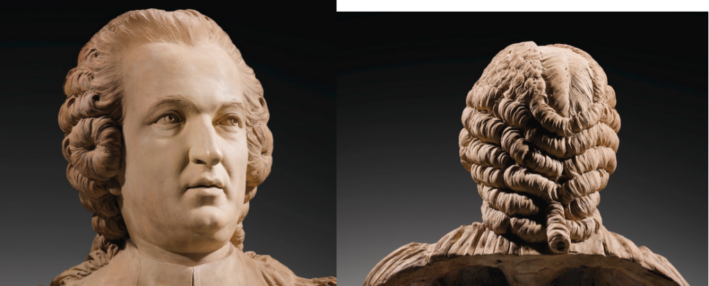 Sculpture busts are great sources for hairstyles. Love the buns in front of the ears! Clément Jayet, 1731-1804 Portrait de Jacques Jolyclerc, échevin de la ville de Lyon (1763-1764), vers 1763-64 | A FRENCH, CIRCA 1763-64, TERRACOTTA BUST OF JACQUES JOLYCLERC, BY CLÉMENT JAYET (1731-1804), BEARING A SIGNATURE PAJOU | Sotheby's