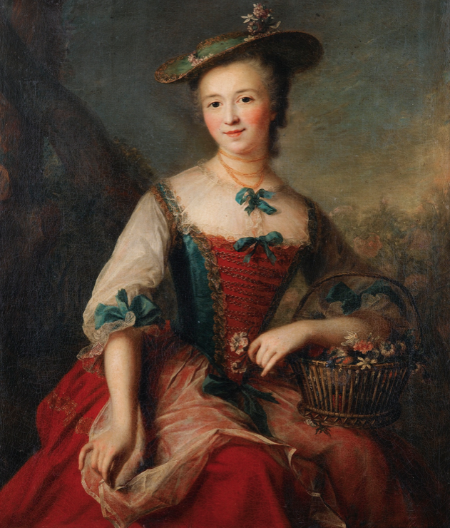 I've been looking for one of those mid-18th century faux-shepherdess paintings to recreate... this could work! Marianne Loir | PORTRAIT DE DAME TENANT UN PANIER DE FLEURS | Sotheby's