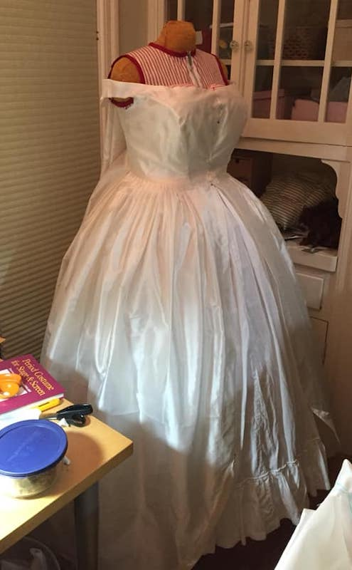 Before trimming, it basically looked like a wedding dress. Apologies, my sewing room is SMALL and I had three projects going at once.